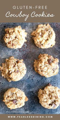 Our Favorite Gluten Free Cowboy Cookies - Gluten Free Recipes Gluten Free Deserts, Gluten Free Cookie Recipes, Gluten Free Soup, Gluten Free Sweets, Foods With Gluten, Gluten Free Cooking, Wheat Free Recipes, Gf Recipes, Easy Recipes