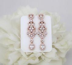 Rose Gold Bridal earrings, Crystal Wedding earrings, Bridal jewelry, Long earrings, Chandelier earrings, CZ earrings, Rhinestone earrings