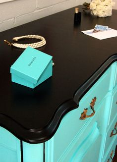 """French Provincial Buffet painted in """"Tiffany Blue"""", with black top.  www.thewoodspa.com"""