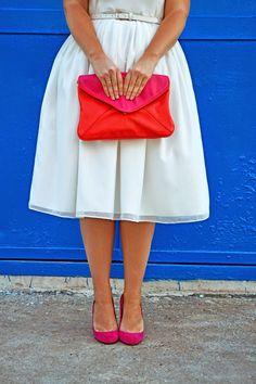 look, white dress, белое платье, яркий клатч