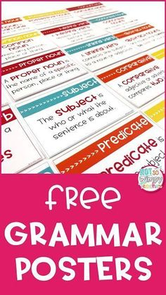 Grammar Posters FREE grammar and parts of speech posters for your classroom!FREE grammar and parts of speech posters for your classroom! Grammar Chart, Grammar Games, Grammar And Punctuation, Grammar Activities, Teaching Grammar, Grammar Lessons, Teaching Writing, Teaching English, Grammar Wall