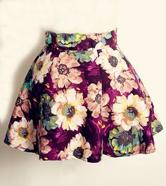 Purple Vintage Floral Print Pleated Skirt - Sheinside.com
