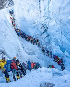The Khumbu ice fall is one of the most dangerous sections while climbing Everest, due the instability of the glacier and… Beautiful Places To Travel, Best Places To Travel, Bergen, Climbing Everest, Camping Set Up, Rock Climbing Gear, Mountain Climbing, Mountain Biking, Bungee Jumping