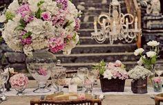 Matrimonio in stile SHABBY CHIC Vasi, confettata, centrotavola per un matrimonio in stile chabby chic