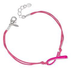 Breast Cancer Crusade Ribbon Cord Bracelet