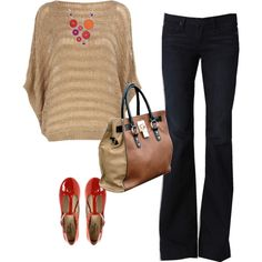 outfit idea..sweater, t-strap pump, chunky necklace