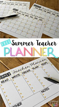 Are you a teacher looking to get organized, relax, and make time for all things important? Grab the FREE summer teacher calendar planner today!