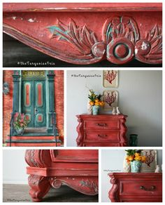 Vintage Furniture The Turquoise Iris ~ Vintage Modern Hand Painted Furniture: Curves for Days Here With This Coral Red Chest Furniture Makeover Turquoise Furniture, Colorful Furniture, Unique Furniture, Repurposed Furniture, Rustic Furniture, Vintage Furniture, Red Distressed Furniture, Outdoor Furniture, Luxury Furniture