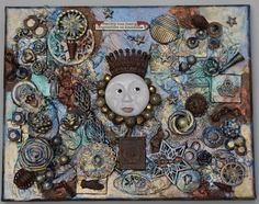 """Moon Steampunk Assemblage Canvas - The Moon and Stars - Original Altered Art - Vintage Found Objects. Steampunk provides the perfect environment to dream about The Moon and Stars and Assemblage Art is the perfect medium to express that fascination. The words that top this original canvas piece, """"reality has limits - imagination is boundless"""" fit the feeling of wonder it inspires. Rust effects were used liberally in the mixed media background as well as layers of numerous paints and…"""