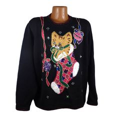 Ugly Christmas Sweater Vintage 1980s Cat in by purevintageclothing