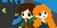 Merida, Hiccup and Toothless