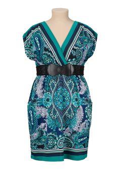 Belted Plus Size Kabuki Dress