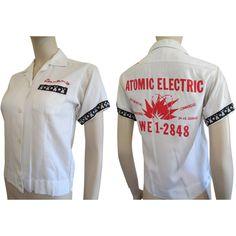 Bowling Shirt Vintage 1950s White Dunbrooke Bowler Atomic Electric Womens Top Blouse