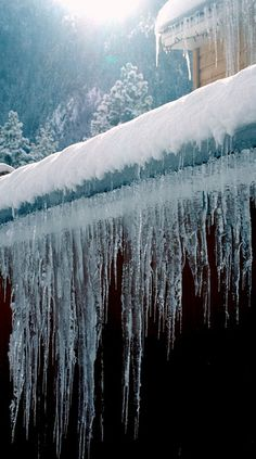 Icicles hanging from the eaves of the house and barn in winter.