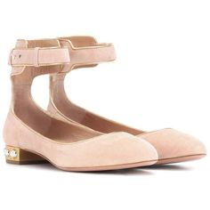 Aquazzura Lucky Star Suede Ballerinas ($695) ❤ liked on Polyvore featuring shoes, flats, pink, suede flats, pink ballerina shoes, pink ballet shoes, pink ballerina flats and star shoes