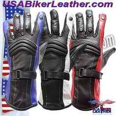 Ladies Leather Gauntlet Gloves in Red White or Blue / SKU USA-GLZ60-DL