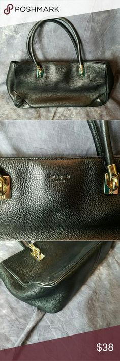 KATE SPADE Black Pebble Leather Satchel KATE SPADE Black Pebble Leather Satchel - Gold Tone Accents Purse  Black pebble leather satchel purse from Kate Spade. Gold tone hardware. Some wear on bottom four corners. Some wear on handles.   Interior in good condition. A couple of small spots in bottom interior.   See photos for condition details and measurements. kate spade Bags Satchels