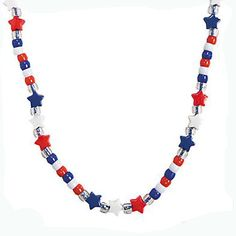 12 Beaded Red, White, & Blue Star Necklace Craft Kit #48/9314
