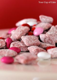Red Velvet Puppy Chow - Ohhhh Little Bit would die if she had these in her lunch box on Valentines Day! :D Must do!