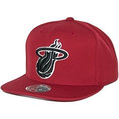 3a57178971b Mitchell   Ness Black   White Logo Miami Heat Snapback Hat (Red) NBA Cap