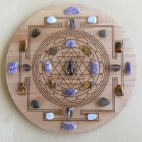 'Moving Forward' Crystal Grid: Purpose: For transformation and new beginnings. Having the courage and confidence to move forward.  Crystals: Blue Lace Agate, Labradorite, Lepidolite, Smokey Quartz and Tigers Eye.  Sri Yantra Symbol: A symbol of power representing the sound of Creation: 'Om.' Used for focusing intention and manifestation.