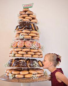 Krispy Kreme Wedding Cake, Krispy Kreme Donut Cake, Doughnut Wedding Cake, Wedding Donuts, Wedding Cake Display, Wedding Cake Stands, Wedding Cakes, Ben Roberts, Donut Tower