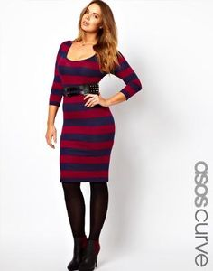 ASOS Curve   ASOS CURVE Midi Bodycon Dress In Wide Stripe at ASOS