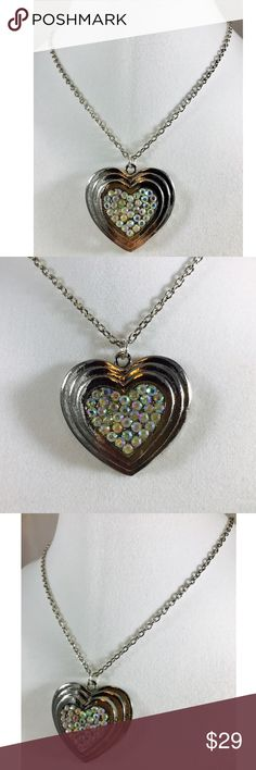 "🆕❤AB Clear Rhinestone & Silvertone Heart Necklace AB Clear Rhinestone & Silvertone Heart Pendant Necklace on 24"" chain  Size - 34x37x8mm (1.3x1.5x0.3 in) Color - silver, AB clear  Shape - heart  Material - lead/nickel free alloy, rhinestone Rad Crafty Jewelry Necklaces"