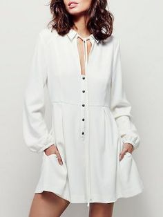 Shop White Tied Front Keyhole Detail Button Front Shirt Dress from choies.com .Free shipping Worldwide.$22.99