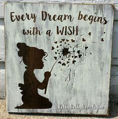 12 x 12 wooden sign This delightful sign features a precious little girl with curls blowing the seeds of a dandelion to make a wish. Perfect for a nursery, li