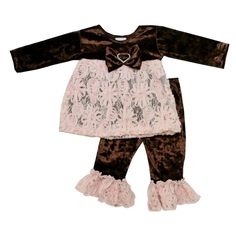 """With vivid colors blended so perfectly , this little girls outfit from Haute Baby is part of the """"Mocha Mist"""" collection. The tunic features long sleeves to keep her warm and cozy on those chilly evenings.  Soft mocha velour & misty taupe lace.  A little bling on the bow adds sparkle! Lovingly made in USA!"""
