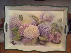 Hydrangea decoupage yes pls Decoupage Box, Decoupage Vintage, Tole Painting, Painting On Wood, Diy And Crafts, Paper Crafts, Tea Tray, Hand Painted Furniture, Learn To Paint
