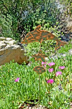 Dolphin Garden Stake / Garden Art / Metal Yard Art / Outdoor Garden Sculpture / Copper Art / Ocean Animal / Beach Decor / Nautical Gift