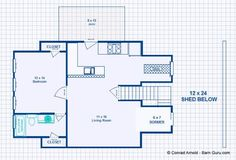 Barn Plans -2 Stall Horse Barn - With Living Quarters