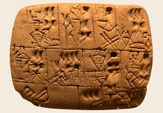 This is an excellent example of one of the earliest forms of writing, cuneiform.  At it's earliest stage, writing consisted of pictures that represented the very thing it stood for.  As time went on, these images, or pictographs, evolved to not only represent an object, but sounds as well.  The designs began to  become more abstract as time went on.  A clear pictograph of a bird may have changed into a few short lines.  Nonetheless, this was a huge advancement in writing.