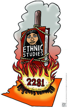 http://youra.net/pdf/books/politicalcartoons.pdf This imagine supports the link based on Editorial cartoons in the Perception textbook. In this example we get to see the Arizona law of banning Ethnic Studies in that state, in the image Lalo Alcaraz combines fiction and non-fiction  elements and uses a radical medium to show visual protest in order to reflect the issues of today in his editorial cartoons.