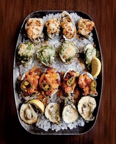 More oysters from Wintzell's Oyster House - this is their delicious Oyster Sampler with oysters cooked 4 different ways.  Photo from Garden & Gun.