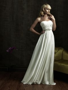 A-Line Strapless Beading Tulle Chapel Train Wedding Dress at Millybridal.com