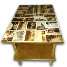 Old coffee table + old postcards = new and original coffee table :)