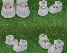 Knitted baby booties headbands and hats by NadiaKnittedCreation