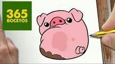 365bocetos 365 Kawaii, Kawaii Pig, Kawaii Cute, Cute Easy Drawings, Amazing Drawings, Kawaii Drawings, Sketch Painting, Drawing Sketches, Gravity Falls