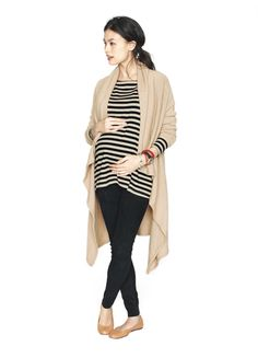 Long cascading cardigan and neutral + black color palette - works whether you're pregnant or not