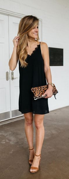 All about my hair extensions // wearing a little black slip dress with a leopard print clutch // summer going out outfit // wearing black and brown together for summer Slip Dress Outfit, Black Slip Dress, Black Dress Outfits, Date Outfit Casual, Date Outfits, Spring Outfits, Casual Dresses, Casual Outfits, Fashion Outfits