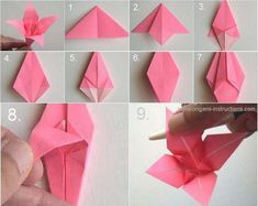 """Everybody knows about origami, the Japanese art of paper folding. But what is it that can make origami so magical, so engaging and so deeply touching? The name of origami is made of Japanese terms oru, which means """"to fold"""",… Continue Reading → Origami Lily, Origami Stars, Diy Origami, Origami Paper, Dollar Origami, Oragami, Origami Flowers Tutorial, Flower Tutorial, Origami Instructions"""