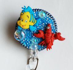 Little Mermaid's Flounder And Sebastian ID Badge Reel - Retractable ID Badge Holder - Zippers - Zipperedheart by ZipperedHeart on Etsy