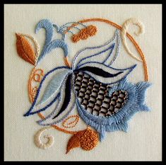 """Embroidery - design came from """"The Anchor Book of Crewel Embroidery Stitches"""" (recommended)"""
