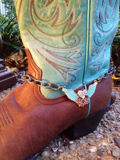 Boot Bling made with angel wings and patina by FireSpiritandSoul Boot  Bracelet 9915807b3e0