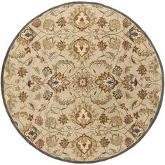 Favorite - Hand-tufted Micah Beige/Green Wool Rug (9'9 Round) - nice middle ground between traditional & transitional; scale of pattern is not too busy or bold; background color is compatible with existing flooring while pattern colors provide just enough contrast.