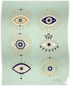 """I'm not a superstitious person, but I absolutely love the aesthetic behind Evil Eye talismans. The amulets are believed to protect against the """"evil eye"""" curse, which can be cast by a malevolent glare. The Evil Eye motif varies slightly throughout culture Ojo Tattoo, Tatoo Art, Hamsa Tattoo, Sanskrit Tattoo, Evil Eye Art, Handpoked Tattoo, Eye Illustration, Realistic Eye Drawing, Muster Tattoos"""