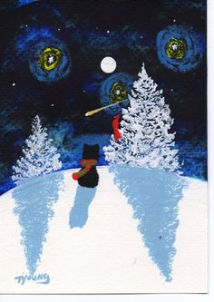 Schipperke Dog Winter abstract original Folk art painting by Todd Young 5x7. $34.95, via Etsy.